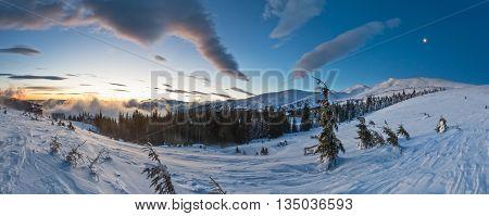 Sunrise Winter Mountain Landscape (carpathian).
