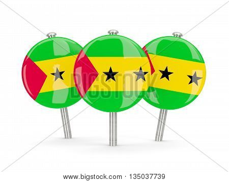 Flag Of Sao Tome And Principe, Round Pins