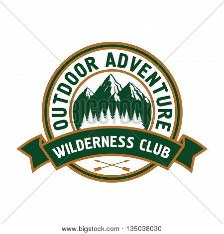 Outdoor adventure retro badge of scenic mountain landscape with forest, encircled by round seal with ribbon banner and text Wilderness Club. Great for campground symbol or travel theme design