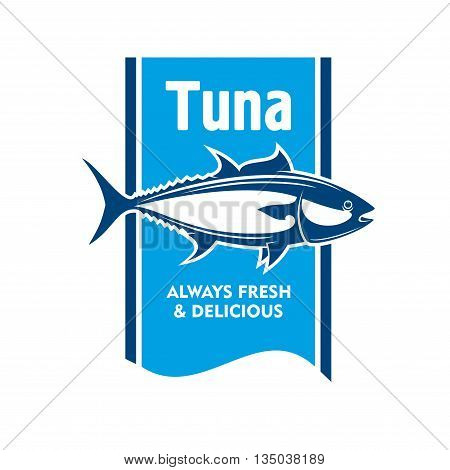 Atlantic bluefin tuna fish retro icon in blue and white colors. Great for fishing tour promotion or seafood packaging label design