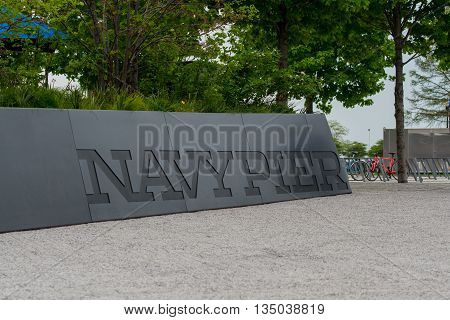 Chicago United States: May 26th 2016. Navy Pier sign at a popular park