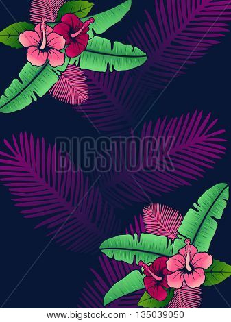 Vibrantly colored line art tropical background with hibiscus flowers. Graphics are grouped and in several layers for easy editing. The file can be scaled to any size.