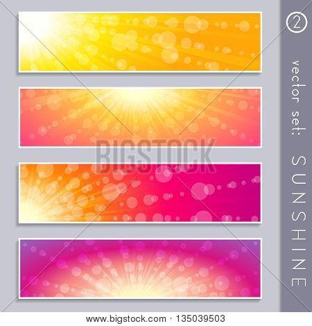 Set of four elegant sky and sunlight banners in vibrant colors. Graphics are grouped and in several layers for easy editing. The file can be scaled to any size.
