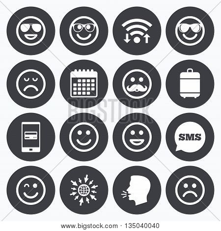 Wifi, calendar and mobile payments. Smile icons. Happy, sad and wink faces signs. Sunglasses, mustache and laughing lol smiley symbols. Sms speech bubble, go to web symbols.