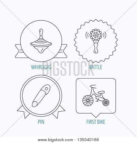First bike, whirligig and rattle toy icons. Pin linear sign. Award medal, star label and speech bubble designs. Vector