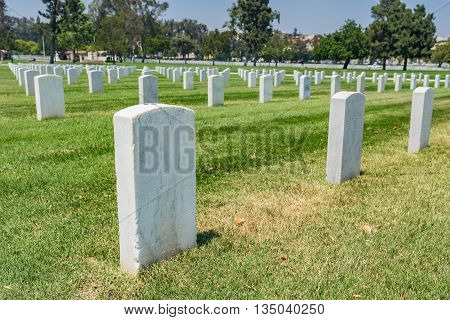 Military Headstone In Cemetery