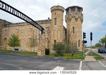 JOLIET, ILLINOIS / UNITED STATES - MAY 3, 2015: The old Illinois State Penitentiary sits vacant and abandoned in Joliet.