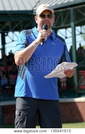 ARLINGTON, TX - APR 18: Radio personality Storme Warren at the ACM & Cabela's Great Outdoor Archery Event at the Texas Rangers Youth Ballpark on April 18, 2015.