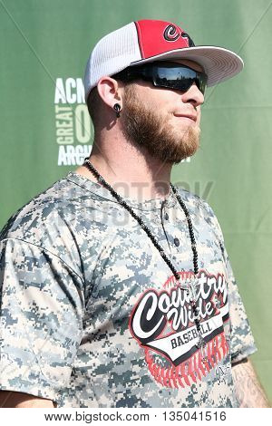 ARLINGTON, TX - APR 18: Recording artist Brantley Gilbert attends the ACM & Cabela's Great Outdoor Archery Event at the Texas Rangers Youth Ballpark on April 18, 2015.