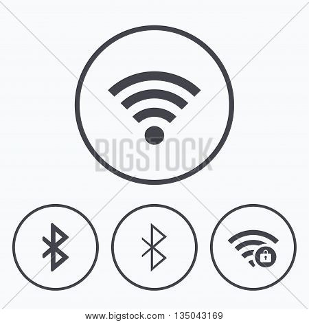 Wifi and Bluetooth icons. Wireless mobile network symbols. Password protected Wi-fi zone. Data transfer sign. Icons in circles.