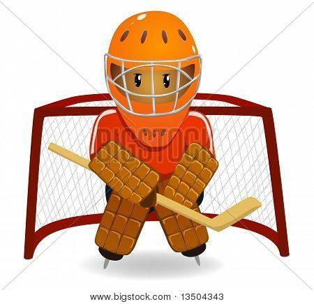 Cartoon Hockey Goalkeeper