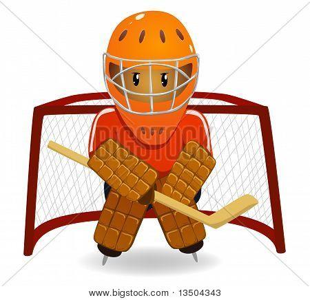 Cartoon Hockey Goalkeeper