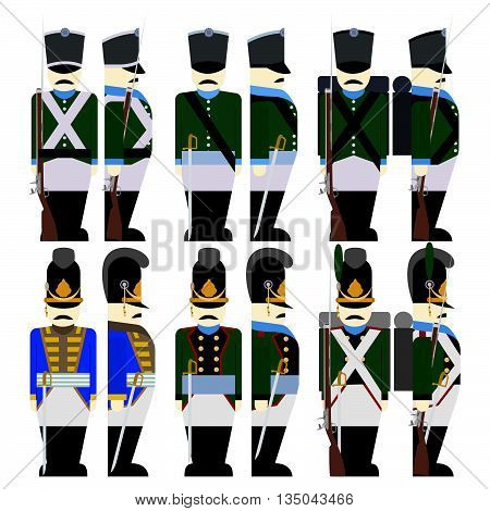 Soldiers of the army of Bavaria in uniform and weapons were used in the 1812 war. The illustration on a white background.