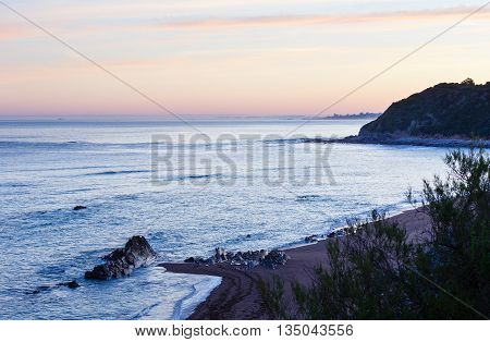 Sunrise Ocean View From Beach (bay Of Biscay).