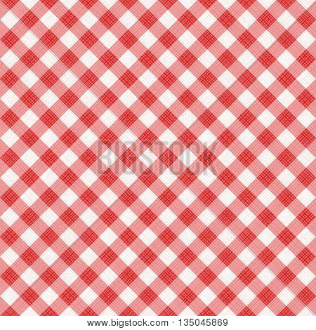 Seamless (you see 4 tiles) red diagonal gingham pattern background