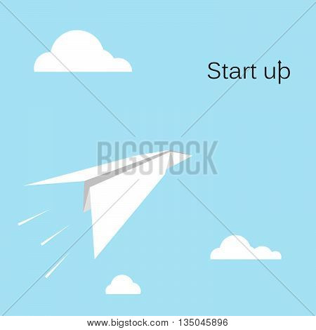 Paper rocket icon with white cloud on sky background.Start up new business project conceptbusiness take offproject or extraterrestrial travel.Startup sign.Business sign.Marketing sign.Vector illustration