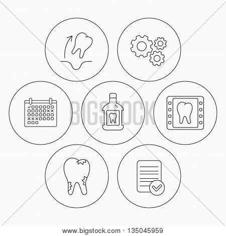 Tooth extraction, caries and mouthwash icons. Dental x-ray linear sign. Check file, calendar and cogwheel icons. Vector