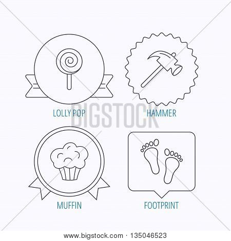 Footprint, lolly pop and muffin icons. Hammer linear sign. Award medal, star label and speech bubble designs. Vector