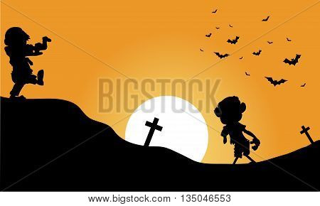 Silhouette of zombie and bat halloween vector illustration