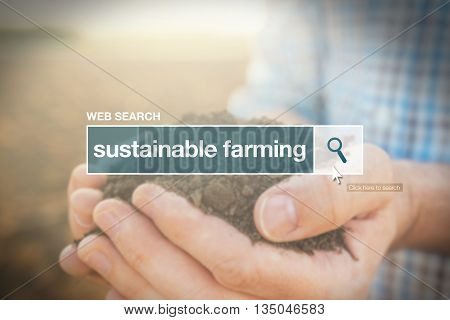 Sustainable farming web search bar glossary term in internet glossary.