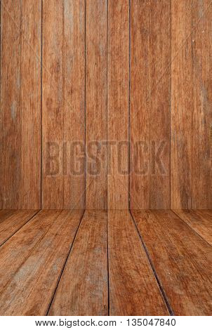 Perspective brown wood floor panel background, stock photo