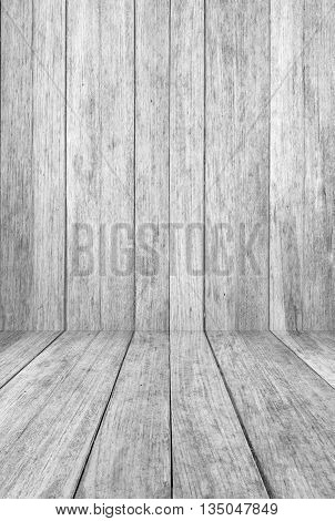 Perspective wood floor panel with black and white tone background, stock photo