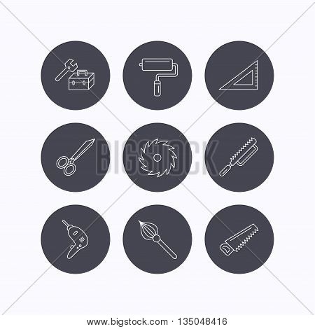 Scissors, paint roller and repair tools icons. Fretsaw, circular saw and brush linear signs. Triangular rule, drill icons. Flat icons in circle buttons on white background. Vector