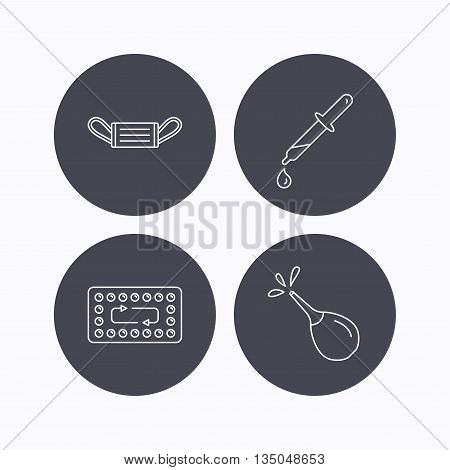 Medical mask, contraception and pipette icons. Clyster linear sign. Flat icons in circle buttons on white background. Vector