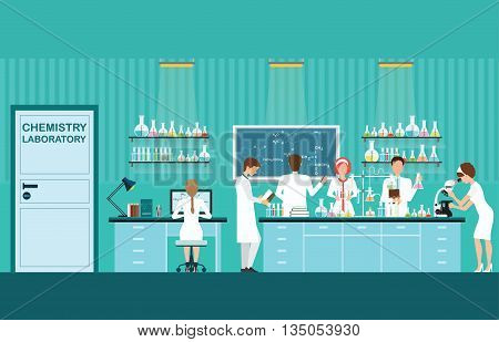Scientist male and female making research and experiments at science lab interior working in laboratory room vector illustration.