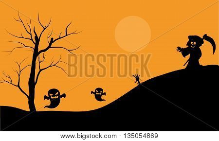 Halloween warlock and ghost scary silhouette vector illustration