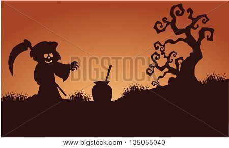 Silhouette of warlock halloween in fields illustration