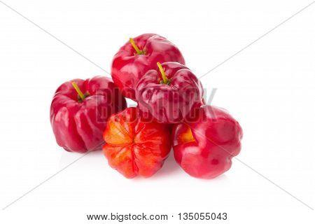 Fresh Barbados cherry fruit (Malpighia glabra L.). poster
