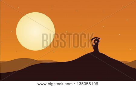 Silhouette of halloween warlock in hills illustration