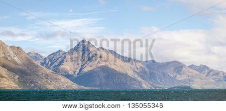 Panorama Scenic Mountain Landscape at Lake Wakatipu of Queenstown New Zealand