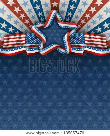 Patriotic american background for fourth of july with american flags and star EPS 10 contains transparency.