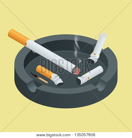 Black ceramic ashtray full of smokes cigarettes. Flat 3d vector isometric illustration