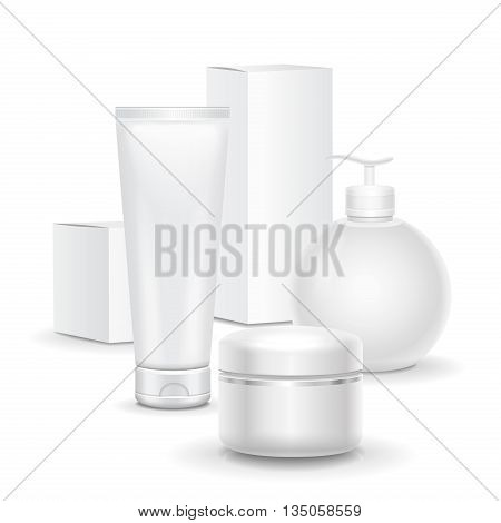 set of cosmetic products on a white background. Cosmetic package collection for cream, soups, foams vector illustration.
