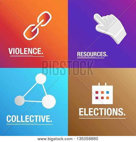 Politics background about violence, resources and collective for the elections