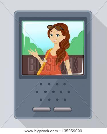 Illustration of a Teenage Girl Using an Intercom