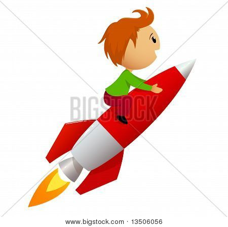 Boy Riding Red Rocket