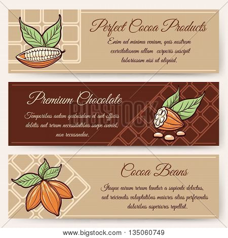 Chocolate and cocoa packaging or cocoa chocolate banner templates vector