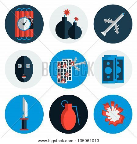 Terrorism icons set with different type of terror crimes symbols isolated vector illustration. Flat style