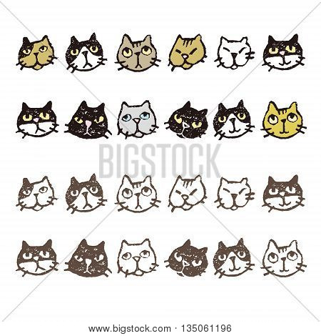 Various kinds of cat's face expressions in color