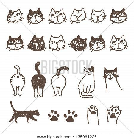Various kinds of cats face paw pad and footprint