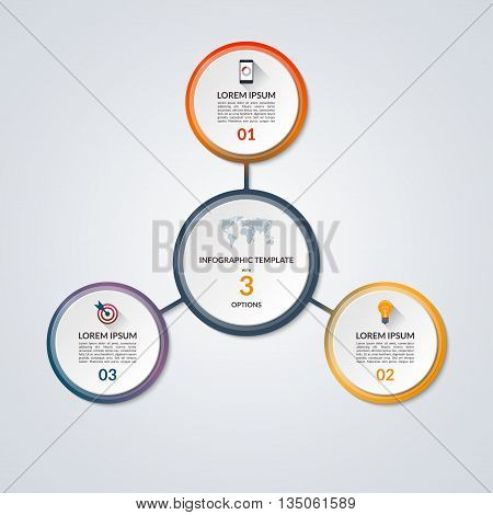 Infographic circle diagram. Vector banner with 3 steps, parts, options. Template for business infographics with the set of flat icons and design elements. Can be used for cycle diagram, round chart.