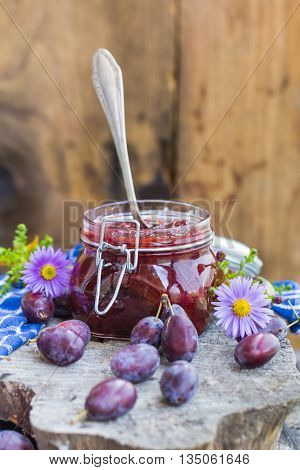 Jars Plum Jam Wooden Table