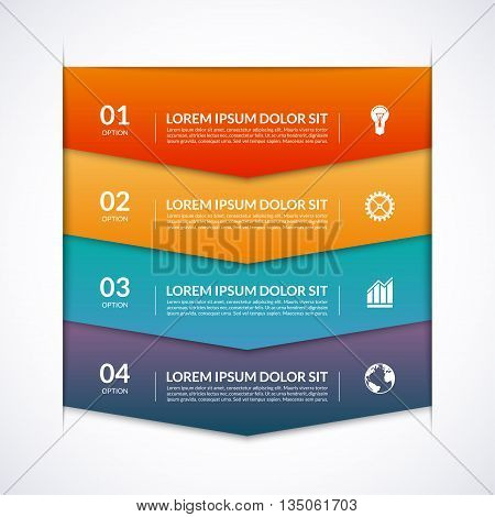 Infographic options template with 4 arrows, options, steps, parts. Vector banner for infographics. Origami style. Can be used for workflow layout, diagram, chart, number options, report, web design
