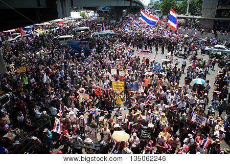 BANGKOK THAILAND - MARCH 29 2014: Unidentified protesters hold an anti-government rally and gather together at street near Lumpini park to against government.