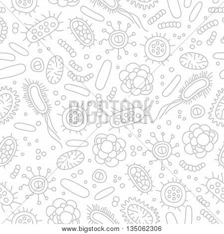 Seamless vector pattern of germs and bacteria. Beautiful abstract background. The concept of healthcare and medicine.
