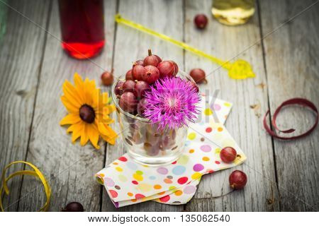 Summer Wooden Dessert Fruit Gooseberry Colorful Drinks